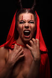 Portrait of a devil with horns. Fantasy. Art project. halloween Royalty Free Stock Image