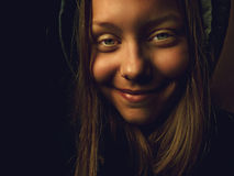 Portrait of a devil teen girl with a sinister smile Royalty Free Stock Images