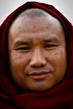 Portrait of a devotee at Mahabodhi Temple in Bodh Gaya, India Stock Image
