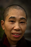 Portrait of a devotee at Mahabodhi Temple in Bodh Gaya, India Stock Photos