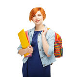 Portrait of diligent girl student with folders and backpack univ Royalty Free Stock Photos