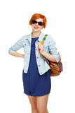 Portrait of diligent girl student university or college with col Stock Photo