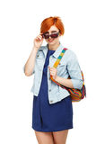 Portrait of diligent girl student university or college with col Royalty Free Stock Photography