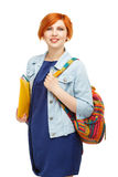 Portrait of diligent girl student university or college with col Stock Image