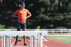 Portrait of disabled man athlete with leg prosthesis. royalty free stock image