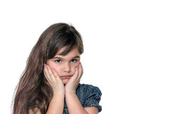 Portrait of disappointed little girl isolated Royalty Free Stock Photos