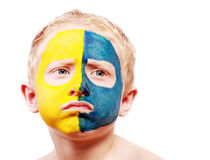 Portrait of disappointed little ukrainian fan Stock Images