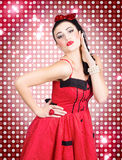 Portrait of disco party dancing girl Royalty Free Stock Images
