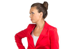 Portrait of dissatisfied businesswoman. Portrait of dissatisfied business woman in red jacket royalty free stock images