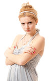 Portrait of dissatisfied girl. Young beautiful blonde has become angry and looks indignantly Royalty Free Stock Photo