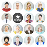 Portrait of Diverse Multiethnic Cheerful People Royalty Free Stock Photos