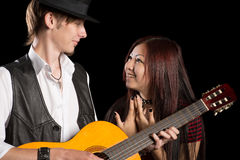 Portrait of diverse young couple music Stock Images