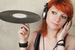 Portrait of DJ girl Stock Image