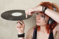 Portrait of DJ girl Royalty Free Stock Photo