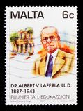 Portrait of Doctor Albert Laferla, Pioneers of Education serie, circa 1997. MOSCOW, RUSSIA - OCTOBER 3, 2017: A stamp printed in Malta shows portrait of Doctor Stock Images