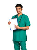 Portrait of doctor Arab nationality with health record on white Royalty Free Stock Photos