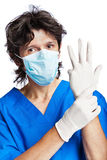 The portrait of doctor in gloves Royalty Free Stock Photos
