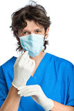 The portrait of doctor in gloves Stock Photography