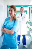 Portrait of doctor and nurse standing with arms crossed. At the hospital Royalty Free Stock Image