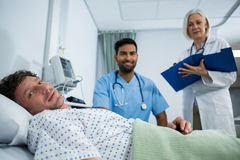 Portrait of doctor patient and smiling Stock Photo