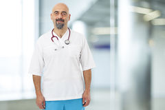 Portrait of doctor with stethoscope. In hospital Stock Image