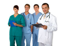 Portrait of doctor with three practitioners Stock Images