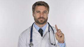 Portrait of Doctor Waving Finger to Refuse stock video