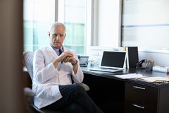 Portrait Of Doctor Wearing White Coat In Office Stock Image