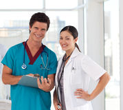 Portrait of Doctors in a hospital looking happy Royalty Free Stock Photography