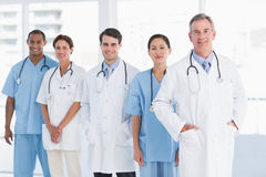 Portrait of doctors in a row at hospital Royalty Free Stock Photo
