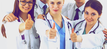 Portrait of doctors team showing thumbs up Royalty Free Stock Images