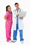 Portrait of doctors using a laptop Royalty Free Stock Photos
