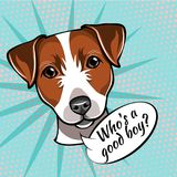 Portrait of a dog breed Jack Russell terrier saying Who s good boy. Vector illustration. royalty free illustration