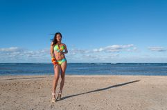 Portrait of a Dominican Girl dressing bikini. Beautiful and sexy girl posing at the beach in dominican republic dressing a bikini Stock Photos