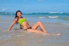 Portrait of a Dominican Girl dressing bikini royalty free stock photos