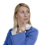 Portrait of a doubting attractive business woman Stock Images
