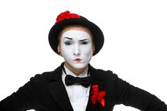 Portrait of the doubting mime Stock Photography