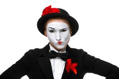 Portrait of the doubting mime Royalty Free Stock Photo