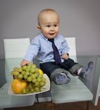 Portrait drôle d'expression de visage de bébé Photographie stock