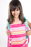 Portrait drôle et heureux de fille d'école Photo libre de droits