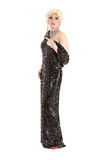 Portrait Drag Queen in Black Evening Dress Performing Royalty Free Stock Photo