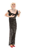 Portrait Drag Queen in Black Evening Dress Performing Royalty Free Stock Photos