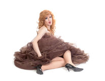 Portrait of drag queen lying on floor Stock Photo