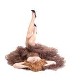 Portrait of drag queen lying on floor Stock Images