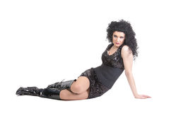Portrait of drag queen lying on floor Stock Images