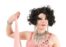 Portrait Drag Queen in Pink Evening Dress Performing Royalty Free Stock Images