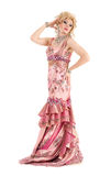 Portrait Drag Queen in Pink Evening Dress Performing Royalty Free Stock Image