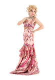 Portrait Drag Queen in Pink Evening Dress Performing Royalty Free Stock Photos