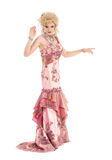 Portrait Drag Queen in Pink Evening Dress Performing Stock Images