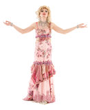 Portrait Drag Queen in Pink Evening Dress Performing stock image